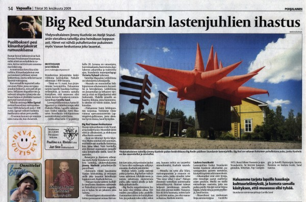 Pohjalainen Newspaper article about Jimmy Kuehnle's Big Red
