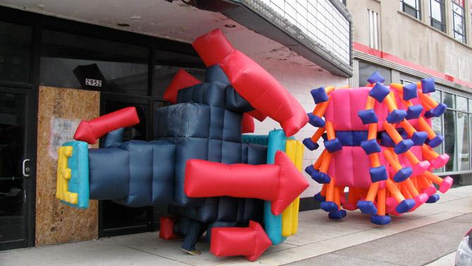 Detroit inflatable suit performance jimmy kuehnle for Cuisine 670 lothrop detroit