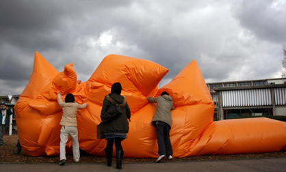 Viewers piling on top of Big Blob iinflatable suit