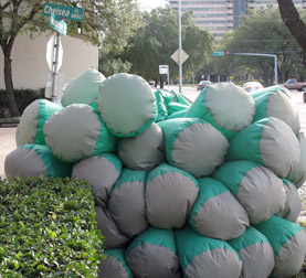 Inflatable suit barely squeezes by a bush in Houston, Texas