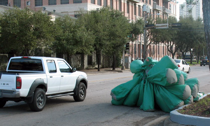 Inflatable suit makes a dart out into busy traffic