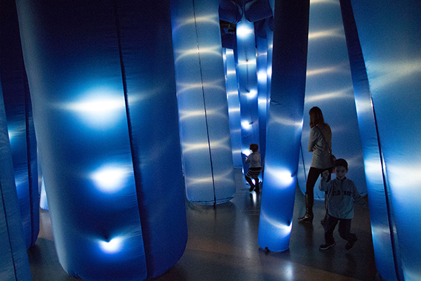 Site-specific interactive inflatable with LEDs at the Exploratorium in San Francisco