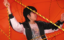 Inflatable sculpture performance with interactivity.