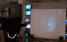 Interactive video performance with miniture cameras and projection.