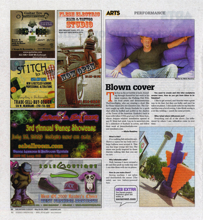 Article by Alicia Ramirez in the San Antonio Current about inflatable artist Jimmy Kuehnle